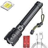 LUXJUMPER 12000 Lumens XHP90.2 Linterna LED Táctica Linterna con Alta Potencia USB Recargable 3 Modos de Iluminación Zoom IN/out,Impermeable IPX4 para Acampar Policía Emergencia Senderismo Viaje