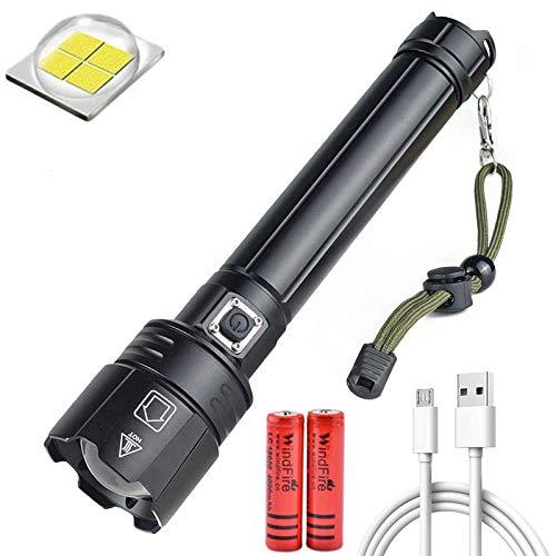 Leistungsstärkste LED Taschenlampe XHP90.2 12000 Lumen USB Wiederaufladbare Wasserdichte Extrem Hell Taschenlampe 3 Modi Zoombar für Outdoor, Wandern, Camping (Inklusive 2 * 4000mah 18650 Batterie)