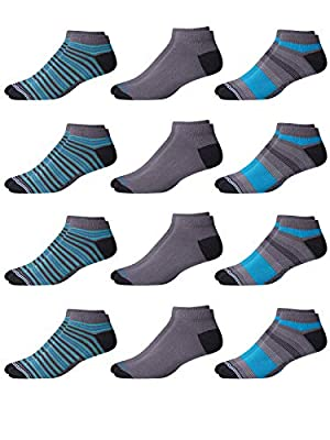Nautica Men's Super Soft No-Show Performance Low Cut Socks Solids And Prints (12 Pack), Blue/Grey, Size Shoe Size: 6-12.5 by