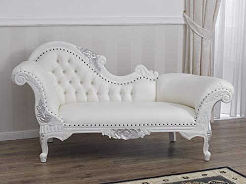SIMONE GUARRACINO LUXURY DESIGN Recamiere Joana Moderner Barock Stil Chaiselongue-Sofa weiß lackiert und Blattsilber Kunstleder weiß Crystal Sw Knöpfe