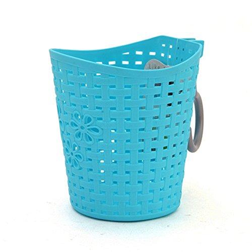 N-K Cesta colgante de plástico para baño, cesta de almacenamiento adecuada para baño y cocina, sección larga, color azul