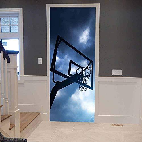 MZNVTD 3D Pegatinas Puertas Papel Pintado Poster 77X200Cm Aro De Baloncesto Azul Cielo Para Oficina Sala Niño Dormitorio Autoadhesivo Impermeable Removable Vinilos Moderno Interiores Decoración Murale
