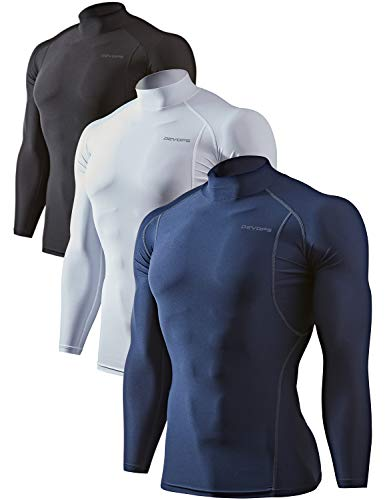 DEVOPS 3 Pack Men's Athletic Turtle Neck Long Sleeve Compression Shirts (X-Large, Black/Navy/White)