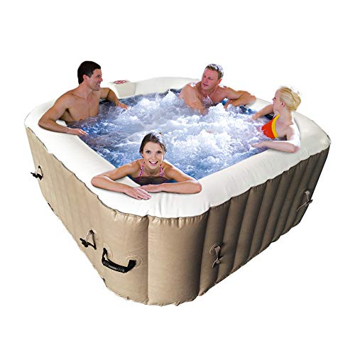 ALEKO HTISQ4BR Square Inflatable Hot Tub Spa with Cover, 4 Person Portable Hot Tub - 160 Gallon Brown
