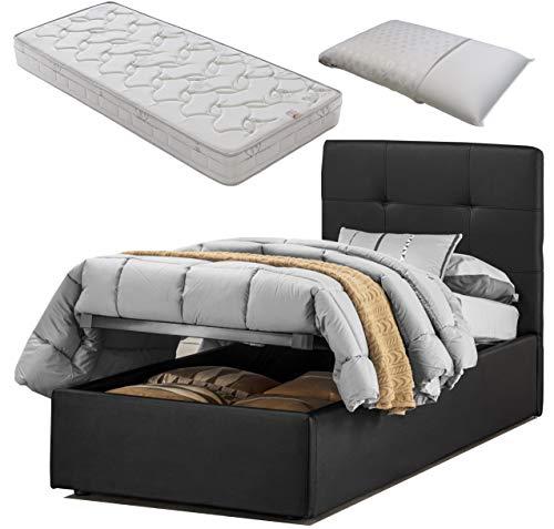 Cama individual con caja de almacenamiento de piel sintética negra oscuro elegante y moderna + colchón con memoria de 20 cm de altura + almohada de regalo