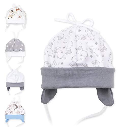 Baby Sweets Unisex Baby Mütze für Mädchen und Jungen als Erstlingsmütze im Bär-Motiv/Babymütze, 62, Grau Weiß - A star is born