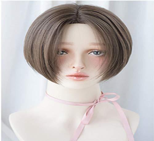 Longueur Femme 25cm droites courtes perruques de cheveux à haute température fibre perruque for les femmes cosplay ou robe quotidienne (Color : Dark brown)