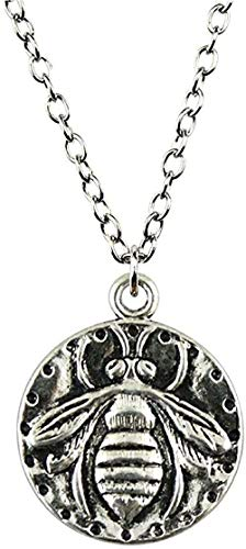WSBDZYR Co.,ltd Necklace Fashion Antique Silver Color Bee Necklace 24X20Mm Pendant Necklace Jewelry Necklace for Women