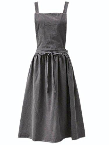 Nanxson  Damen Bauwolle Lätzchen Schürze einfarbige Arbeitsschürze CF3046, Einheitsgröße, Grau
