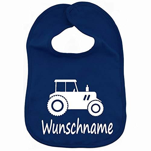 Lätzchen Traktor mit Namen oder Text personalisiert für Baby oder Kleinkind dunkelblau