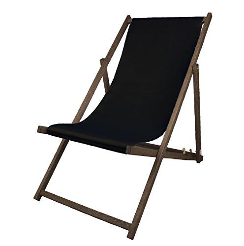 MultiBrands Liegestuhl, Holz, Schwarz ohne Armlehne mit dunkelbrauner Lasur, klappbar (Schwarz)