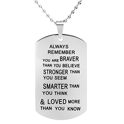 ALoveSoul Inspirational Gift Necklace - Always Remember You are Braver Than You Believe Pendant Necklaces