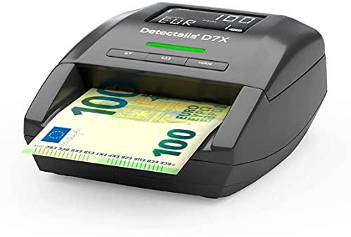 Detectalia D7X - Detector automático de billetes falsos para las divisas EUR, GBP, CHF, PLN, CZK y SEK con 100% detección. No necesita ser actualizado para la divisa EUR - 14 x 12 x 6 cm