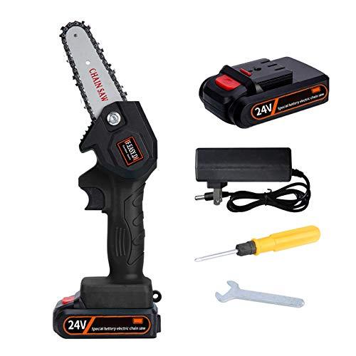 Sierra de Podar a Bateria Mini, Motosierra eléctrica ultraligera a batería de 4-inch, 1,5 lb / 0,7 kg Sierras de poda portátiles de velocidad ajustable para poda de árboles de jardinería,2Pcs 24V