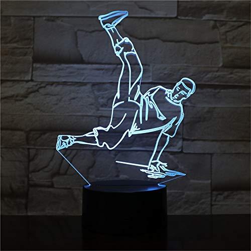 hqhqhq Street Dance LED USB 3D Luces nocturnas 7 Colores LED 3D Lámpara Decoración Luces Hip-Hop Cultura Rompiendo el Bloqueo Popping 2111