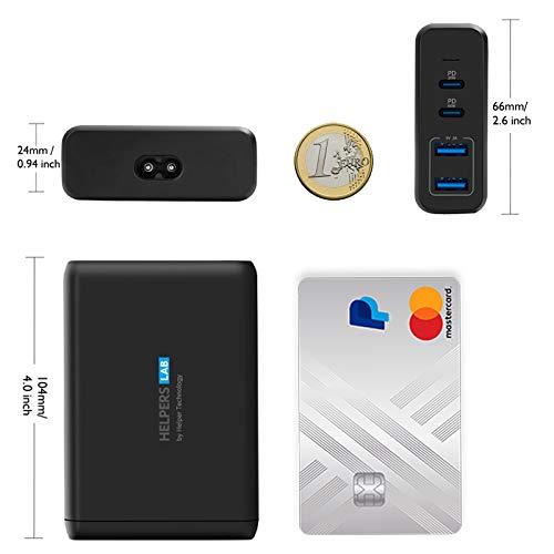 Helpers lab 30W 65W USB C Notebook Ladegerät mit PD 4 Port Netzteil Kompatibel mit Typ-C Laptop MacBook Pro 2020 Dell XPS 12 13 15 9360 Surface Pro 3/4/5/6/7/Go Asus iPhone 12 und mehr