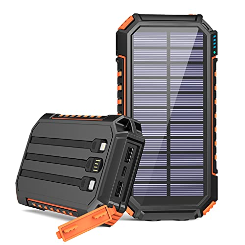 Riapow Solar Charger 30000mAh High Capacity Solar Power Bank with Built-in USB C & iOS & USB Input Cables, Fast Charge Portable Phone Charger with 5 Outputs & 2 Inputs for Smartphone, Tablet