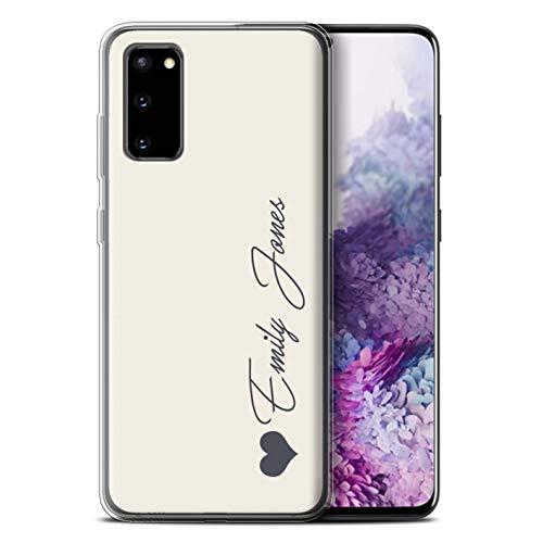 Stuff4 Personalisiert Persönlich Pastell Töne Gel/TPU Hülle für Samsung Galaxy S20 / Elfenbein Herz Design/Initiale/Name/Text Schutzhülle/Hülle/Etui