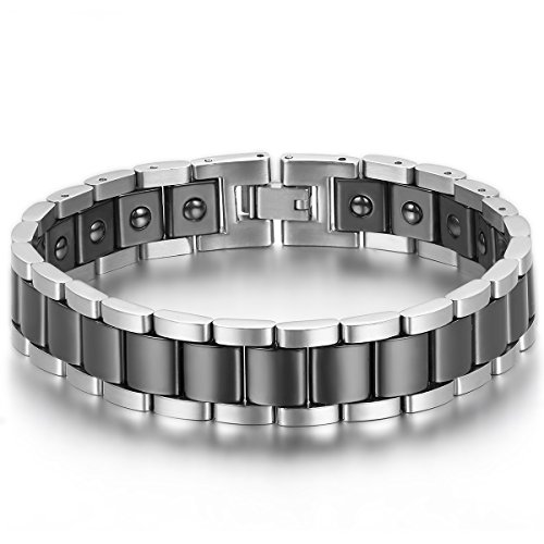 JewelryWe Schmuck Herren Magnet Armband, Edelstahl Keramik, Fashion I Rechteck Link Magnetarmband Armreif, Silber Schwarz