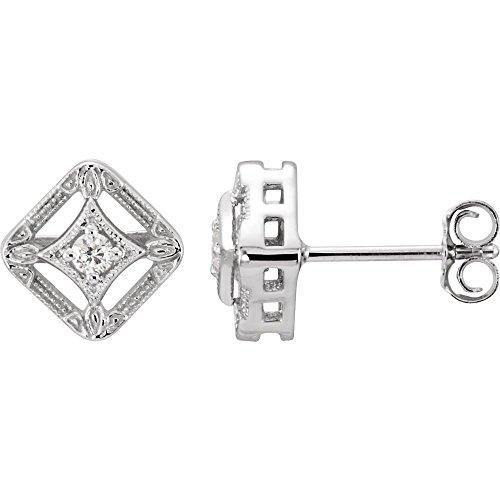 14k White Gold .08 Dwt Diamond Earrings Jewelry Gifts for Women