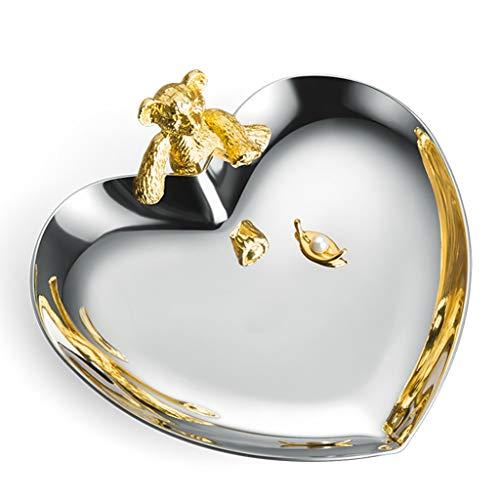 GAOYADS Bandeja de joyería en Forma de corazón, Bandeja de Almacenamiento de Joyas de Acero Inoxidable, Bandeja de Almacenamiento de baratijas pequeñas, Bandeja Decorativa