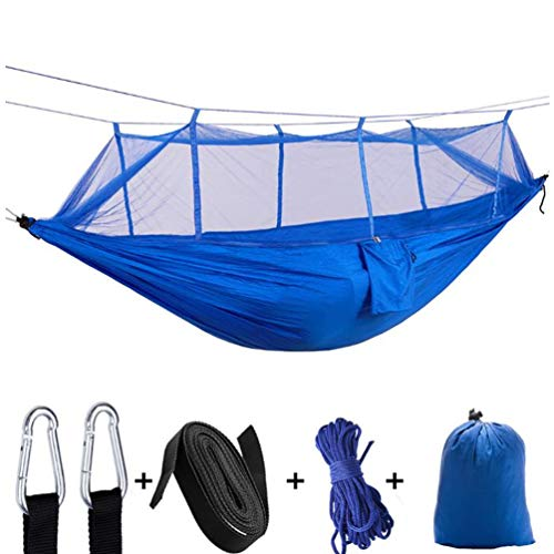 Dream Horse Camping Hammock with Net Mosquito - Parachute Hammock Lightweight Nylon Portable Hammock with 2 Tree Straps Easy Hanging from Trees for Outdoor or Indoor Backpacking Travel Hiking