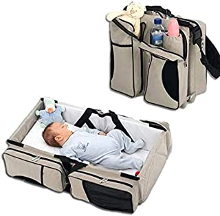 AMERTEER Universal Baby Travel cot: Portable Bassinet Crib, Changing Station, and Diaper Bag for Newborns or Infants.