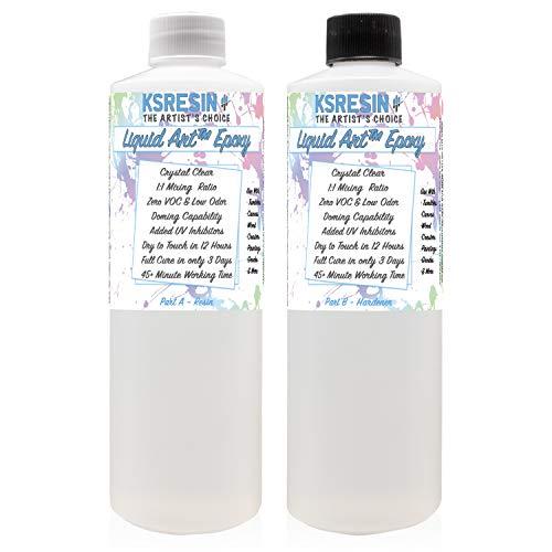Liquid Art Clear Epoxy Resin Coating For Canvas & Wood Art - 32oz Kit