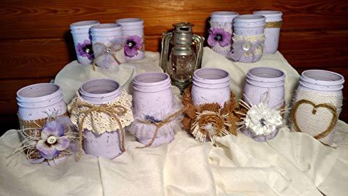 12 Piece Rustic Shabby Chic Mason Jars, Rustic Wedding Vase Centerpieces, Shabby Chic Vase Wedding Centerpieces, Lilac Distressed Mason Jars