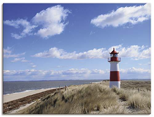 Artland Leinwandbild Wandbild Bild auf Leinwand 80x60 cm Wanddeko Strand Meer Maritim Küste Leuchtturm Sylt Nordsee Düne Himmel T9ML