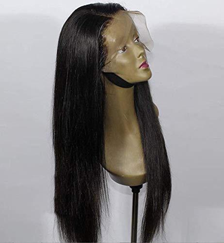 Vebonny Perücke für Damen, ohne Klebstoff, 1B, schwarze Synthetik-Perücke, hellschwarze Perücken, natürlicher, glatter und realistischer Mittelteil, 61 cm, Vebonny-074