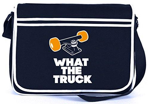 Shirtstreet24 What The Truck, Skateboard Longboard Retro Messenger Bag Kuriertasche Umhängetasche, Größe: onesize,Navy