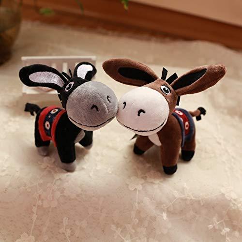 Llavero de fantasía con diseño de animal, diseño de burro de felpa, para coche, con dijes, bolsa de peluche, llaves, accesorios para mujer (color: negro)