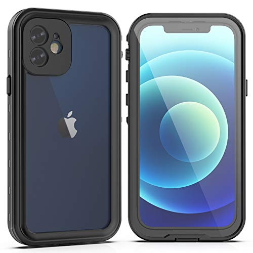 YOGRE for iPhone 12 Case Waterproof, 12 Case Shockproof with Screen Protector Dropproof Dustproof Snowproof Case for iPhone 12 6.1inch(Black)