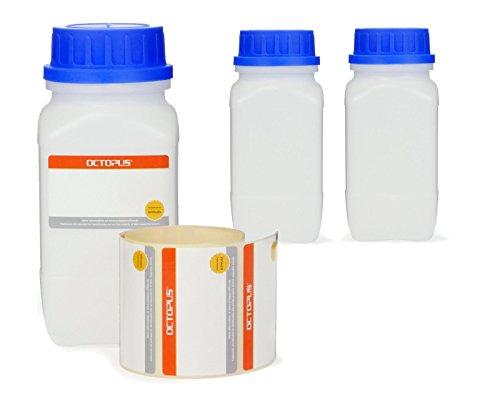 Octopus 3X 500 ml Weithals-Flaschen mit Schraubverschluß, Chemiekalienflaschen, Laborflaschen mit Deckel als Aufbewahrungsbehälter für Labor, Küche oder Hobby