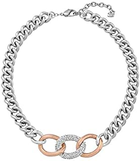 Swarovski Women's Rose Gold Plated Crystal Chain Necklace, 31.12 cm - 5080040, Silver/Rose Gold