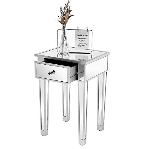 """VINGLI Mirrored End Table with Drawer Silver Nightstand/Bedside/Accent Table for Small Space,Living Room,Bedroom,15.7"""" L x 15.7"""" W x 24"""" H,Mirror"""