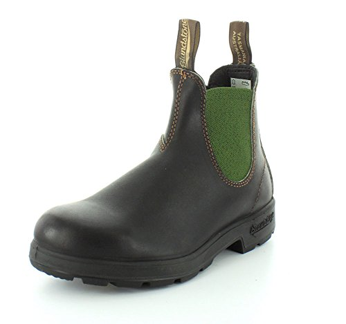 Blundstone Unisex 519 (500 Series) Chelsea Boot, Stout Brown Leather with Olive Elastic, 39 EU