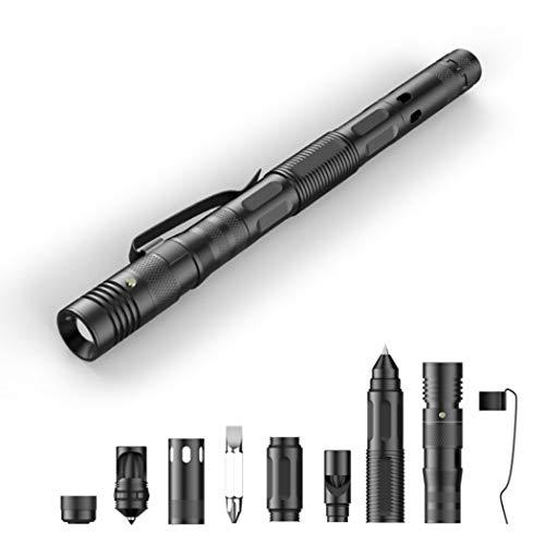 M STAR Multifunktionaler taktischer Stift, taktischer Stift, Schreiben, Beleuchtung, Pfeife, Schraubendreher, Glasbrecher, täglicher Tragwerkzeug, Camping, Survival Gadget