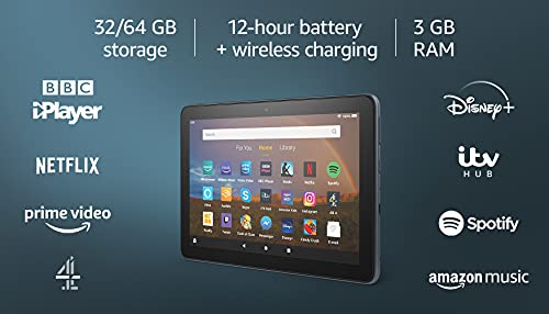 Fire HD 8 Plus tablet, 8' HD display, 32 GB, Slate - with Ads, Our best 8'...
