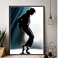 Rzhss 絵画マイケルジャクソンキングミュージシャン有名な歌手スターポスタープリントウォールアートキャンバス画像リビングホームルームの装飾キャンバスにプリント-60X90Cmフレームなし