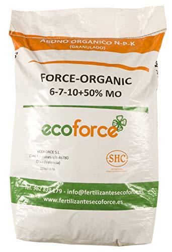 CULTIVERS Force Organic de 25 kg. Abono para Plantas ecológico Micro granulado con NPK (6-7-10) + 50% Materia orgánica y Micro Elementos
