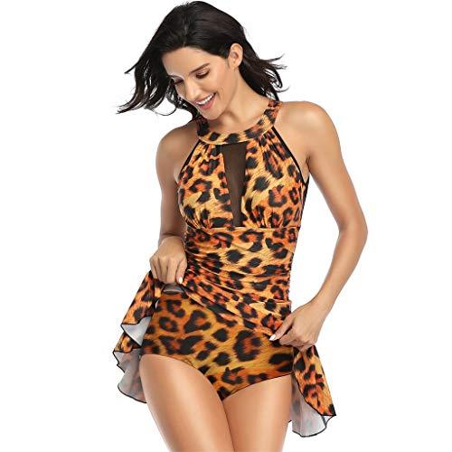 Fenverk Monokini Bikini Retro Badeanzug Einteiler Tankini Bademode Badeanzug One Shoulder Swimwear Swimsuit,Transparent,Tankini Grosse GröSsen,Plus Size Damen(B Braun,L)