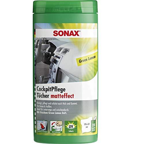 SONAX CockpitPflegeTücher Matteffect Green Lemon Box (25 Stück) reinigen, pflegen und schützten alle Kunststoffteile, Holz und Gummi mit Geen Lemon-Duft | Art-Nr. 04128000