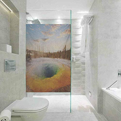 Glaspapier-Fenster-Dekorfolie, Yellowstone Morning Glory Pool in Yellowstone al Park Winte, Home Glasfolie für Badezimmer Meeting Living Ro, 59,9 x 89,9 cm
