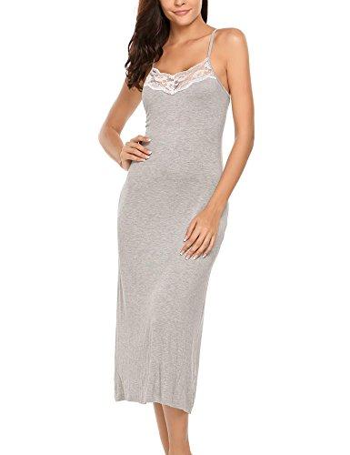 Meaneor - Camisón de noche para mujer, sexy, sin mangas, largo, para verano, con cuello en V gris S