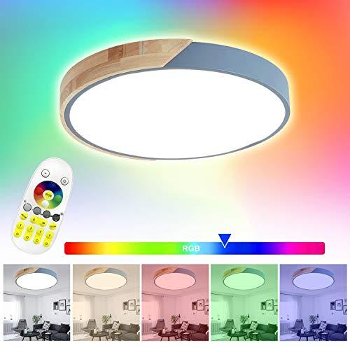 Froadp 48W Holz LED-Deckenleuchte Runde RGB mit Fernbedienung - Ø40cm Alu und Acryl Deckenlampe - für Babyzimmer Schlafzimmer Wohnzimmer Kinderzimmer