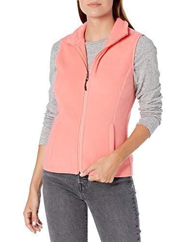 Amazon Essentials Women s Classic Fit Sleeveless Full-Zip Polar Soft Fleece Vest, Bright Coral, Small