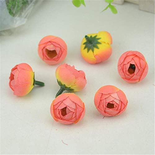 AOA 100pcs 2.5cm Artificial Silk Flower Heads For Home Wedding Decoration Simulation Fake Flowers,Gradient Red