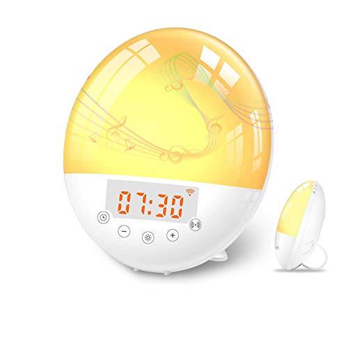 Wake Up Light LED Despertador, Larkotech Luz Despertador Simulación de Amanecer y Atardece, 7 Luces de Colores, Función Snooze, 30 Niveles Brillo, 10 Sonidos, Radio FM, Control de VozReloj